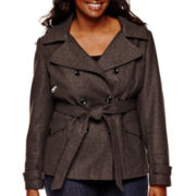 Marilyn & Me Faux-Wool Trench Coat - Plus
