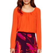 Worthington® Long-Sleeve Pleated Blouse - Tall