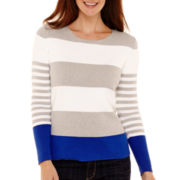 Liz Claiborne® Long-Sleeve Colorblock Striped Sweater