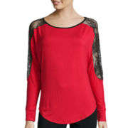Bisou Bisou® Long Dolman-Sleeve Lace-Shoulder Top