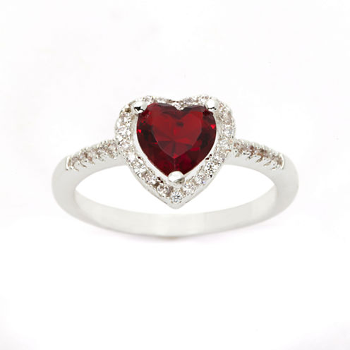 Sparkle Allure Womens Red Diamond Accent Silver Over Brass