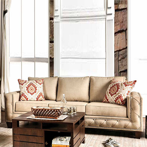Valena Transitional Fabric Track-Arm Sofa