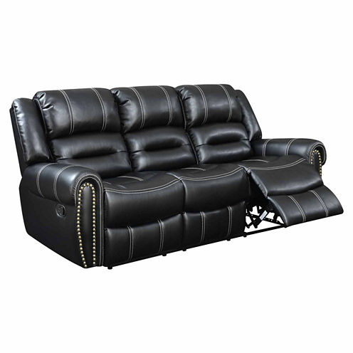 Bismarck Contemporary Faux Leather Roll-Arm Reclining Sofa