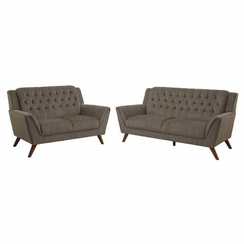 Empera Contemporary Fabric Sofa + Loveseat Set