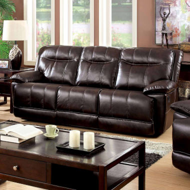 jcpenney.com | Corvan Transitional Faux Leather Pad-Arm Reclining Sofa