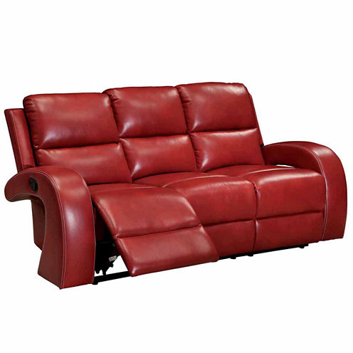 Monica Transitional Faux Leather Curved Slope-Arm Reclining Sofa