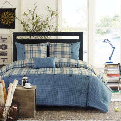 intelligent design campbell plaid comforter set bonus decorative pillow