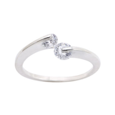 jcpenney.com | the skinny® Pure Silver-Plated Cubic Zirconia Bypass Ring