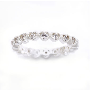 jcpenney.com | the skinny® Pure Silver-Plated Crystal Heart Eternity Band Ring