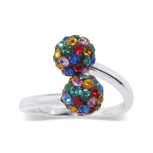 Pure Silver-Plated Multi-Color Crystal Ball Bypass Ring