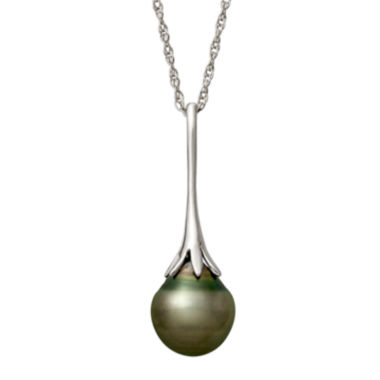 jcpenney.com | Genuine Tahitian Pearl Sterling Silver Linear Drop Pendant Necklace