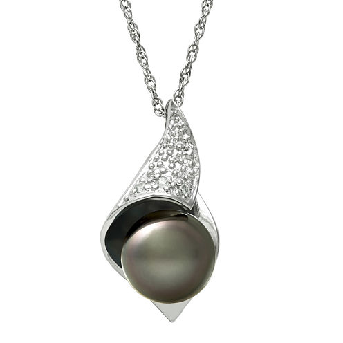 Genuine Tahitian Pearl and Diamond-Accent Pendant Necklace