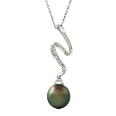 jcpenney.com | Sterling Silver Cultured Tahitian Pearl & Diamond Squiggle Pendant