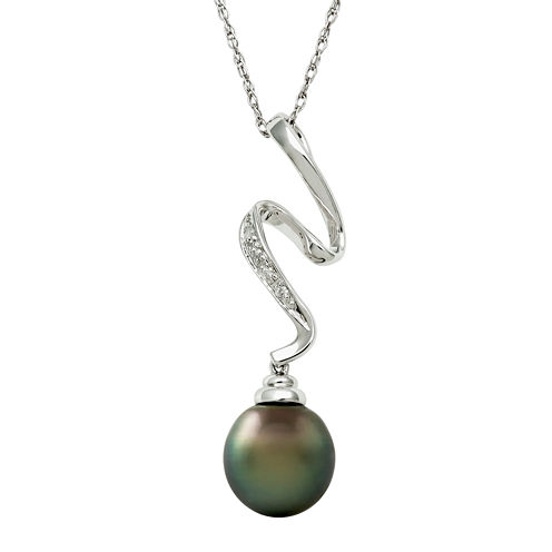 Sterling Silver Cultured Tahitian Pearl & Diamond Squiggle Pendant