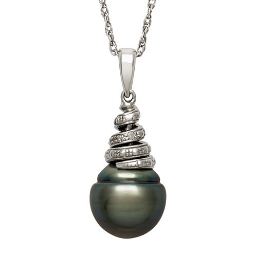Genuine Tahitian Pearl and Diamond-Accent Sterling Silver Swirl Pendant Necklace