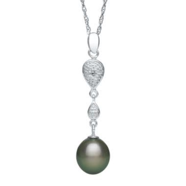 jcpenney.com | Genuine Tahitian Pearl and Diamond-Accent Linear Drop Pendant Necklace