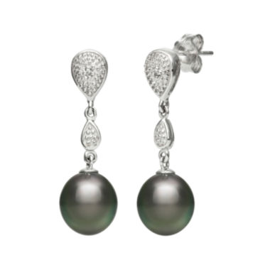jcpenney.com | Genuine Tahitian Pearl and Diamond-Accent Sterling Silver Linear Drop Earrings