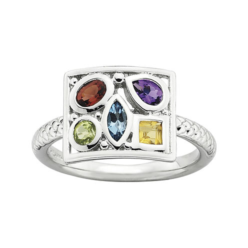 Personally Stackable Sterling Silver Multi-Gemstone Ring