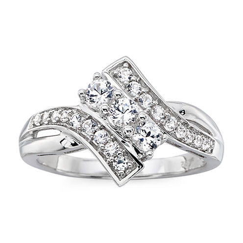 DiamonArt® Sterling Silver Cubic Zirconia Bypass Ring