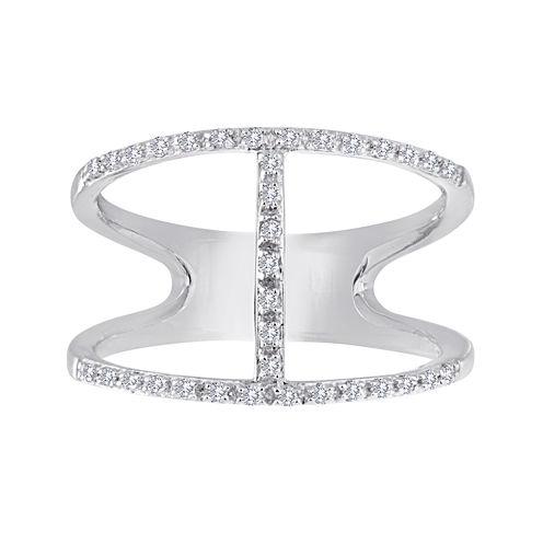 1/7 CT. T.W. Diamond Sterling Silver Open-Design Ring