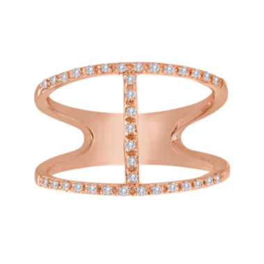 jcpenney.com | 1/7 CT. T.W. Diamond 14K Rose Gold Over Sterling Silver Open-Design Ring