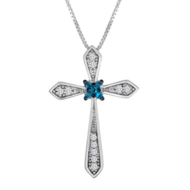 jcpenney.com | 1/10 CT. T.W. White and Color-Enhanced Blue Diamond Cross Pendant Necklace