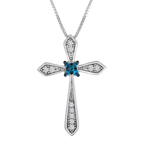 1/10 CT. T.W. White and Color-Enhanced Blue Diamond Cross Pendant Necklace