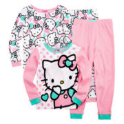 Hello Kitty® 4-Pc. Long-Sleeve Pajama Set - Girls 2t-4t