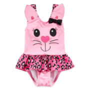 Candlesticks Pink Kitty Swimsuit - Girls 3m-24m