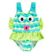 Candlesticks Blue Fishalicious Swimsuit - Girls 12m-24m