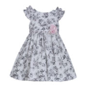 Bonnie Jean® Cap-Sleeve Floral-Print Ruffle Dress – Girls 2t-4t