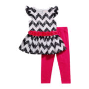 Youngland® Flutter-Sleeve Tunic and Leggings Set – Girls 2t-4t