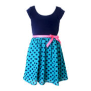 Pinky Cap-Sleeve Knit Chiffon Dress – Girls 4-6x