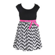 Pinky Cap-Sleeve Chiffon Chevron Dress – Girls 4-6x