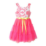 Pinky Sleeveless Mesh Neon Dress – Girls 4-6x