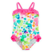 Breaking Waves 1-pc. Heart Splash Swimsuit - Girls 4-6x