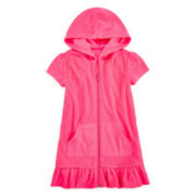 Breaking Waves Zip-Front Hooded Swim Cover-Up - Girls 4-6x