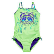 Breaking Waves 1-piece Tiger Swimsuit - Girls 4-6x