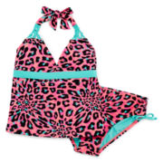 Breaking Waves Leopard Tankini - Girls 7-16