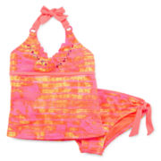 Breaking Waves Tie-Dye Halter Tankini - Girls Plus