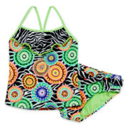 Breaking Waves Zebra Tankini - Girls 4-6x