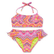 Breaking Waves Tribal Print Fringe Bikini - Girls 7-16