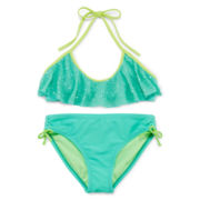 Breaking Waves Flounce Halter Bikini - Girls 7-16