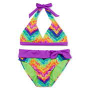 Breaking Waves Tie-Dye Chevron Bikini - Girls 7-16