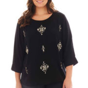 jcp™ 3/4-Sleeve Embellished Jeweled-Front Woven Top - Plus