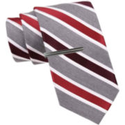JF J. Ferrar® Heathered Stripe Tie and Tie Bar Set - Slim