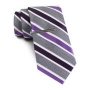 JF J. Ferrar® Heathered Stripe Tie and Tie Bar Set - Slim