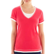 Made For Life™ Short-Sleeve Layered Tee - Petite