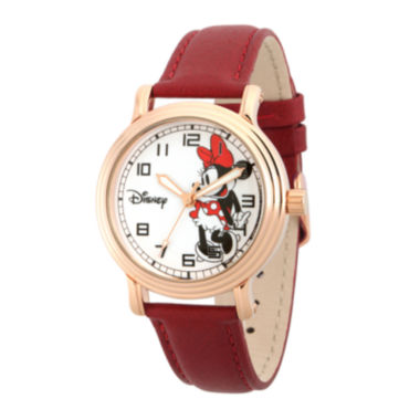 jcpenney.com | Disney Collection Womens Minnie Mouse Red Leather Strap Watch