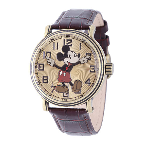 Disney Mens Mickey Mouse Brown Leather Strap Watch